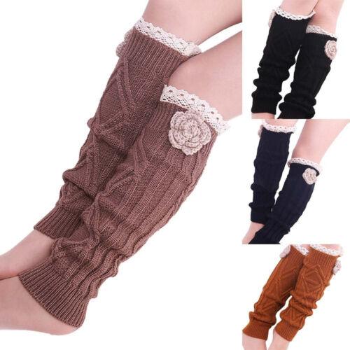 Winter Autumn Women Leg Warmers Crochet Knitted Lace Trim Knee Length Boot Socks