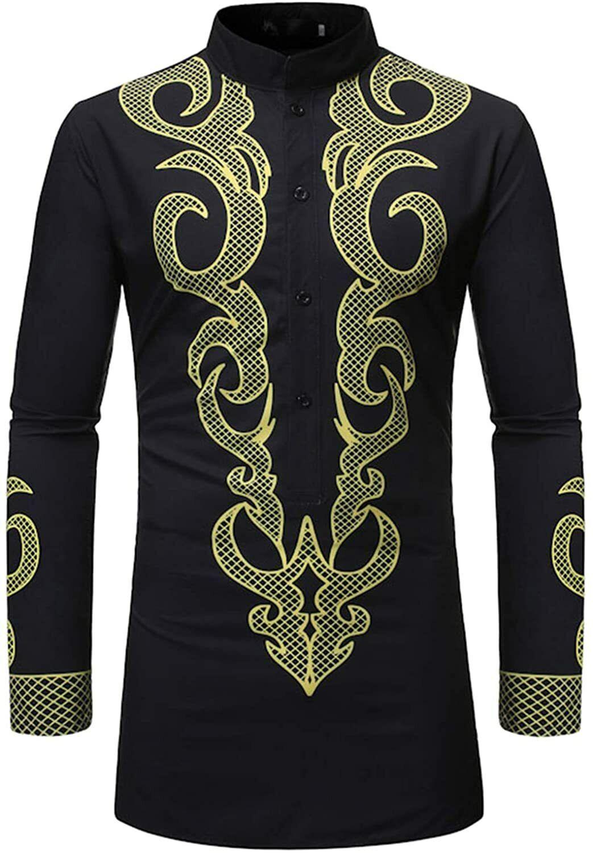 Muslim Shirt Ethnic Clothes for Men, Bronzing Shirts Arab Islamic Long Sleeve