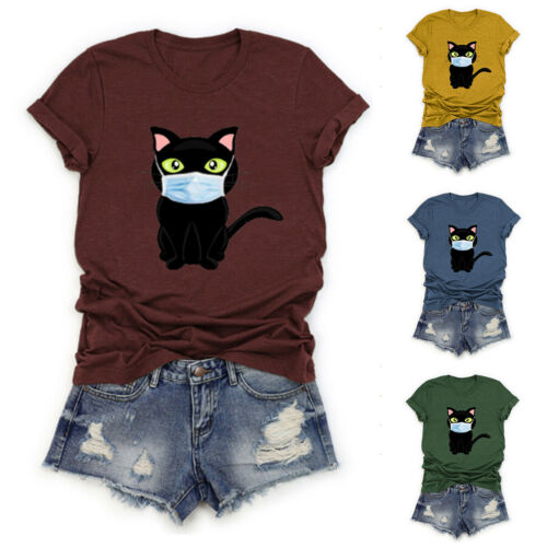 Womens Laides Cat Print Short Sleeve T-shirt Summer Casual Tops Blouse Plus Size