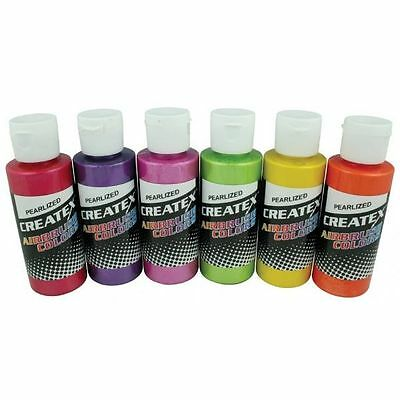 CREATEX Airbrush Paint Set 6 pc PEARLIZED SAMPLER Colors Airbrushing 5811