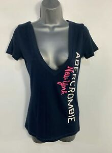 WOMENS-ABERCROMBIE-amp-FITCH-SIZE-SMALL-BLUE-LOGO-DEEP-V-NECK-CASUAL-T-SHIRT-TOP