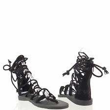 Jeffrey Campbell Hola Women's Shoes Black Suede Gladiator Sandals Size 7.5 M