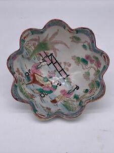 Vintage-Hand-Painted-Japanese-Three-Footed-Bowl-Porcelain-Geisha-Scenes