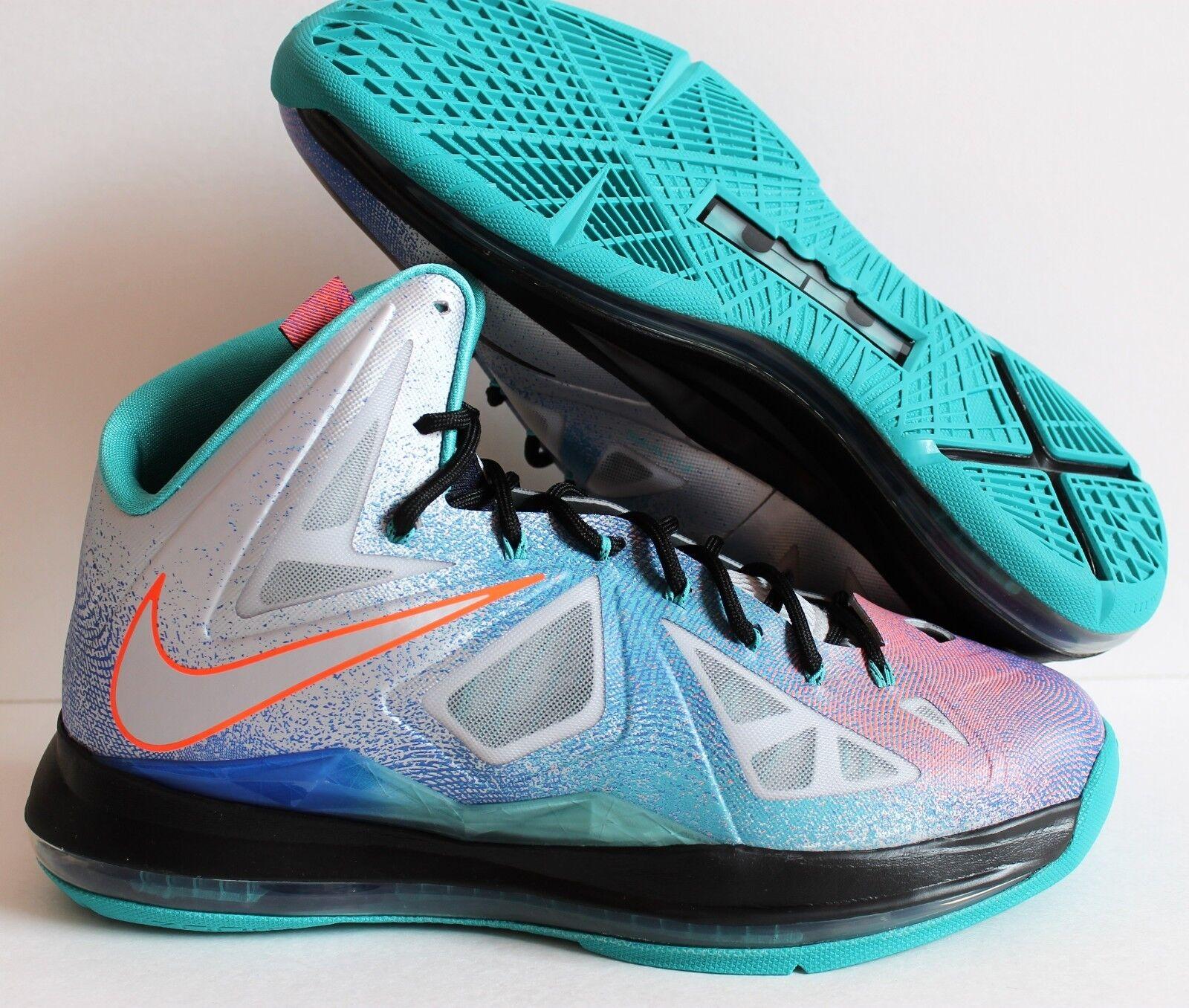 Nike lebron 10 x 8 puro platinum-nero-sport turq sz 8 x [541100 008. 175128