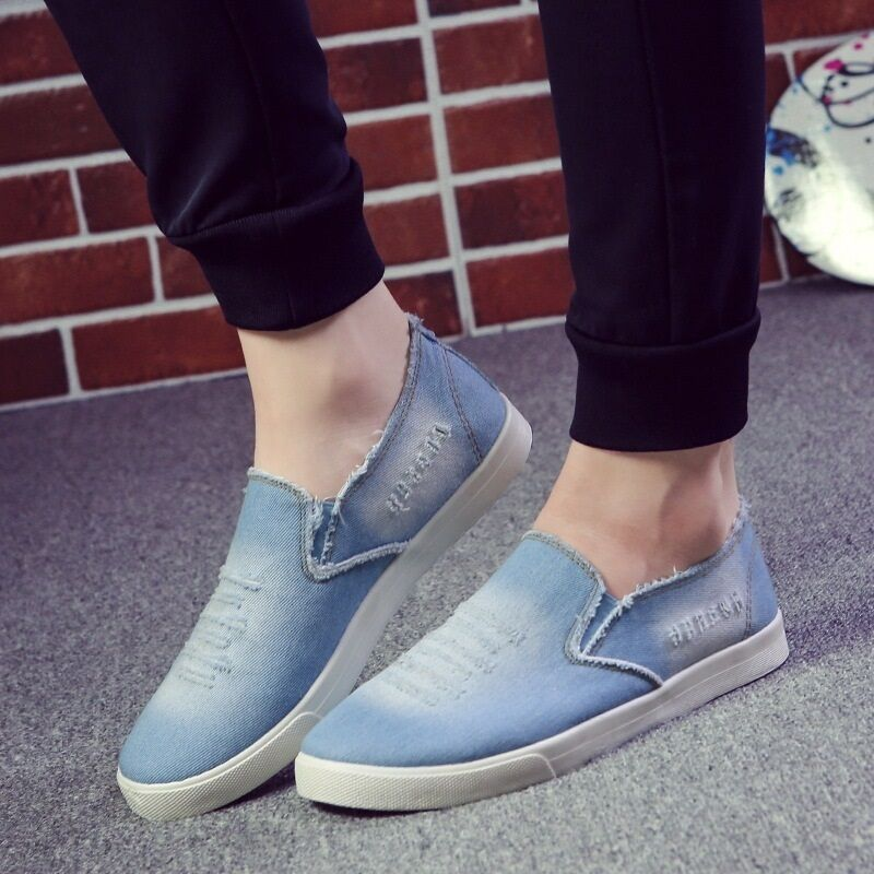 Fashioon Mens Slip On Denim Canvas Loafers Comfort Flats Casual shoes Breathable