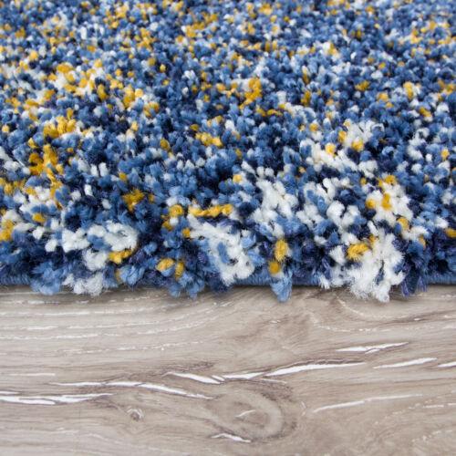Soft Non Hangar EASY CLEAN bleu jaune Shaggy Tapis Petit Large Moelleux Shag Tapis