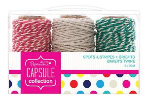 0-13-m-3-x-20m-Bakers-Twine-Brights-pink-hellgrau-gruen-Kordel-Bastelschnur