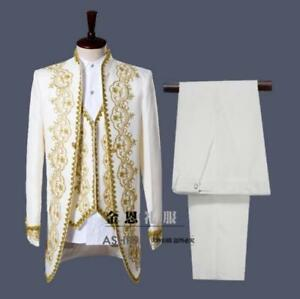 131b027416 Image is loading Mens-3PC-White-Gold-Embroidery-Suits-Groom-Tuxedos-