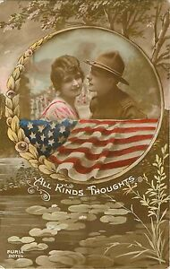 """1918 WW1 Patriotic Military """"All Kind Thoughts"""" Postcard"""