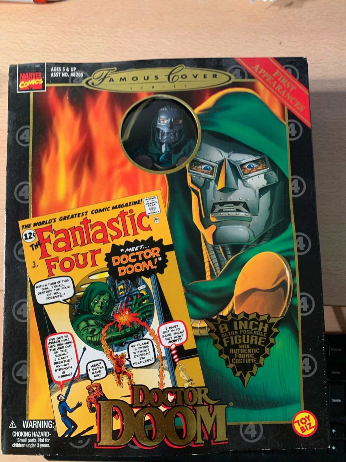 "NEW, 1998, MARVEL, FAMOUS COVER SERIES, DOCTOR DOOM, 8"" FIGURE, TOY BIZ"