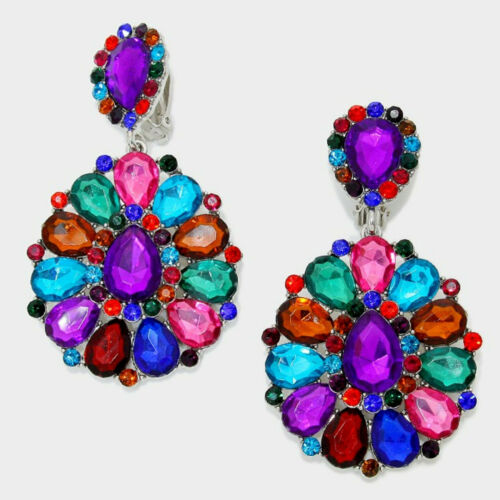 Lange Ohrclips Clip Clips Ohrringe Acrylglas Pink Rot Blau Violett Grün 8,5 cm L