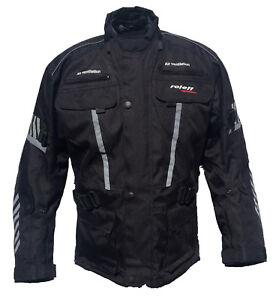 roleff racewear lange motorradjacke in schwarz mit protektoren wasserdicht ebay. Black Bedroom Furniture Sets. Home Design Ideas