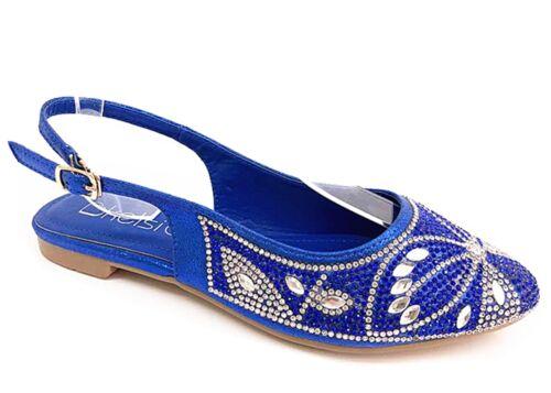 New Lady Femmes Plat Été Plage Vacances Soirée Sandales Chaussures En Bleu Rouge Argent