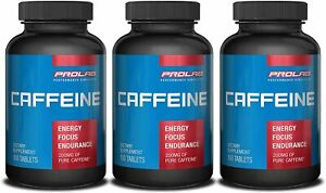 PROLAB Caffeine Supplement 200 mg 300 Tablets (Pack of 3) SEALED QUICK ENERGY