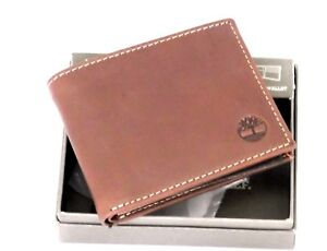 TIMBERLAND-Hommes-en-Cuir-Veritable-Horizontal-Passcase-flipfold-portefeuille-New-in-Box-Brown