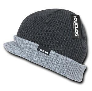 b285e33f9ff Grey 2 TONE BEANIE VISOR JEEP HAT Rib Knit Winter Cap warm skull ski ...