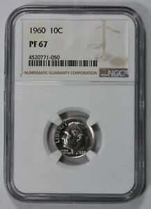 1960-10c-SILVER-ROOSEVELT-DIME-HIGH-GRADE-PROOF-COIN-NGC-PF-67-LOT-W813