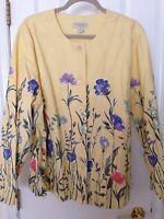 Appleseeds Yellow Floral Blazer Jacket - Size 2x -