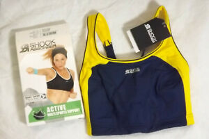 Size-28HH-Shock-Absorber-Active-Multi-Sports-Support-Bra-Blue-and-Yellow