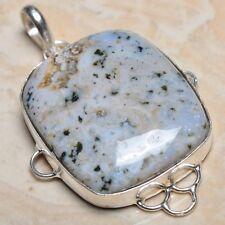 "Handmade Dalmation Jasper Gemstone 925 Sterling Silver Pendant 2.25"" #F00066"