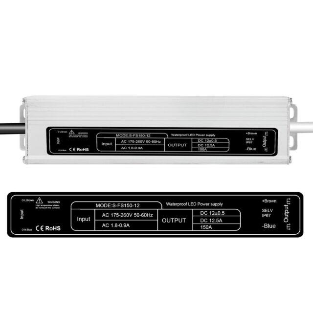 12V LED Trafo Netzteil Transformator Wasserdicht IP67 f LED Strip 60W~200W TOP