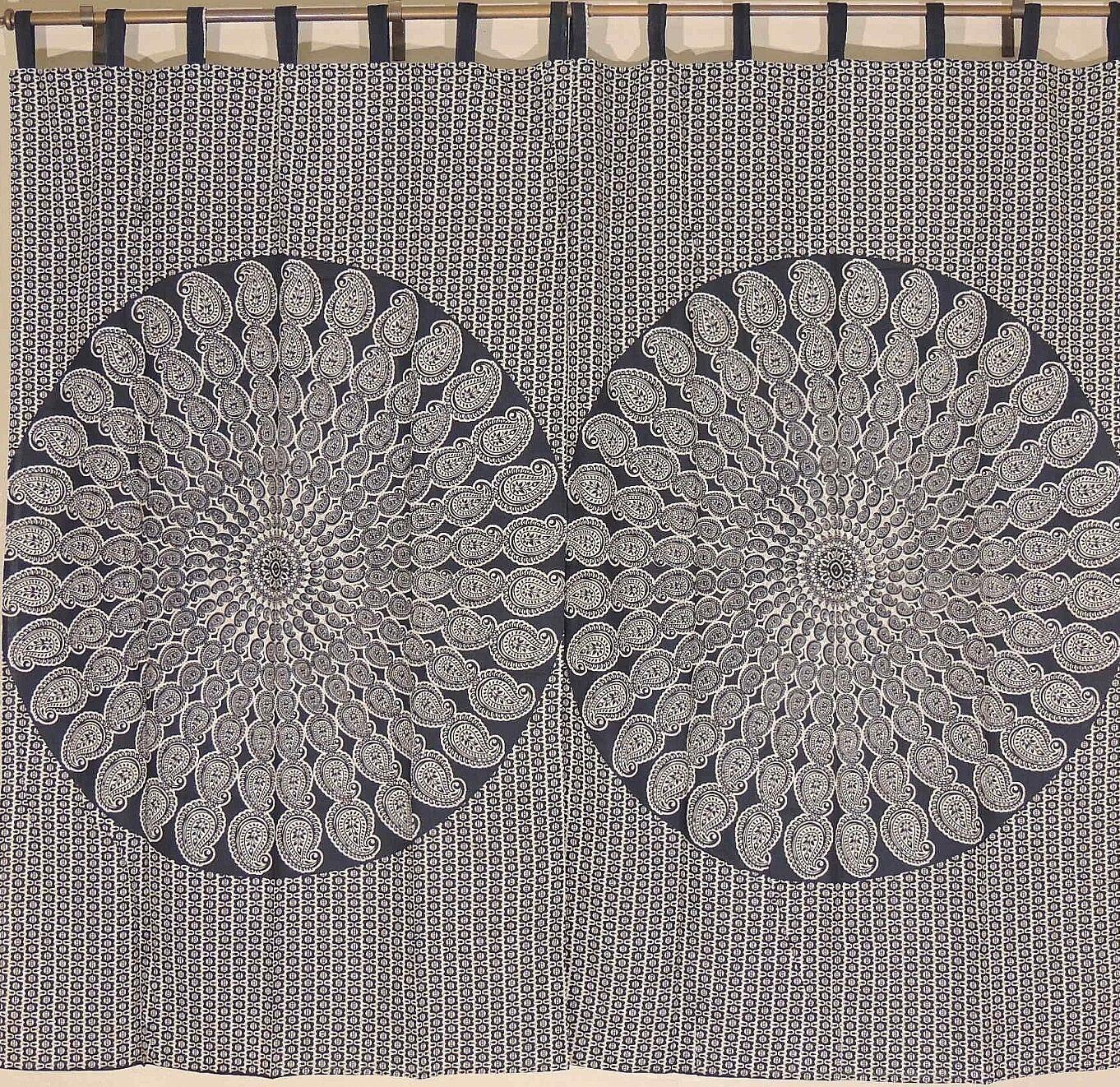 Negro Algodón Estampado Cachemir Mandala Cortinas 2 paneles de la India 82  tratamientos de la ventana