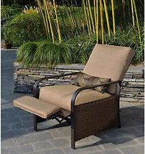 Outdoor Recliner Patio Lawn Chair Cushion Padded Wicker Garden Deck Pool Lumbar