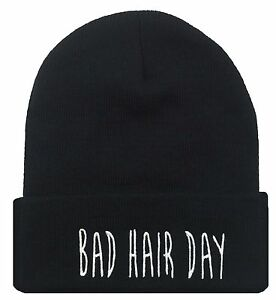 37ed9961 ALL SEASON BEANIE HAT ***BAD HAIR DAY*** BLACK HAT WITH WHITE TEXT ...