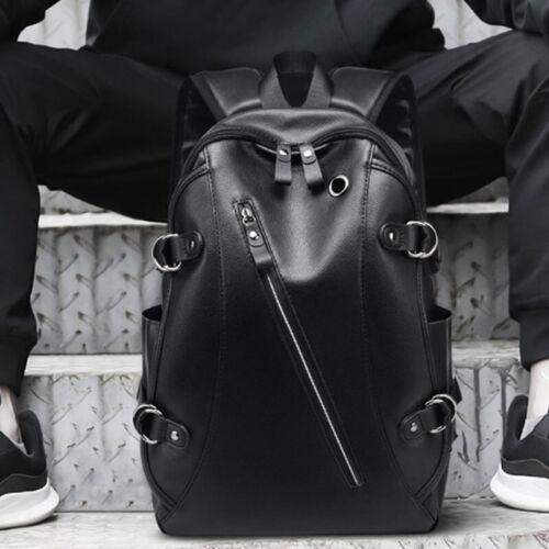 Men Women Vintage PU Leather Backpack Travel Satchel Laptop Rucksack School Bag