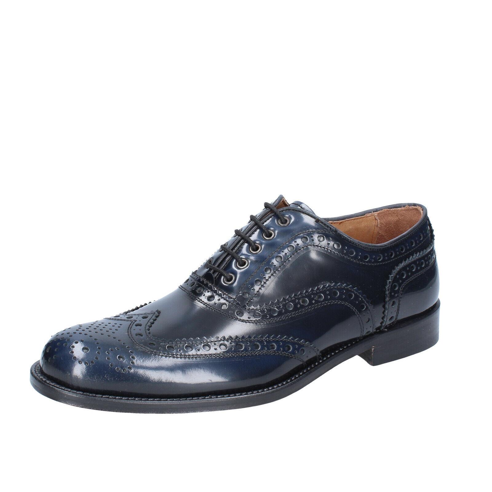Herren schuhe ALEXANDER 42 EU elegante blau glänzendem leder BS212-42