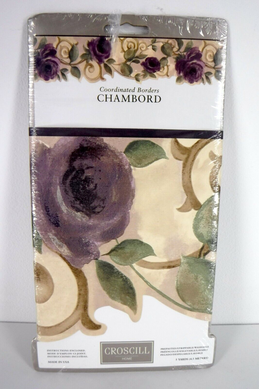 Croscill Wallpaper Border Chambord Amethyst Purple Rose Floral