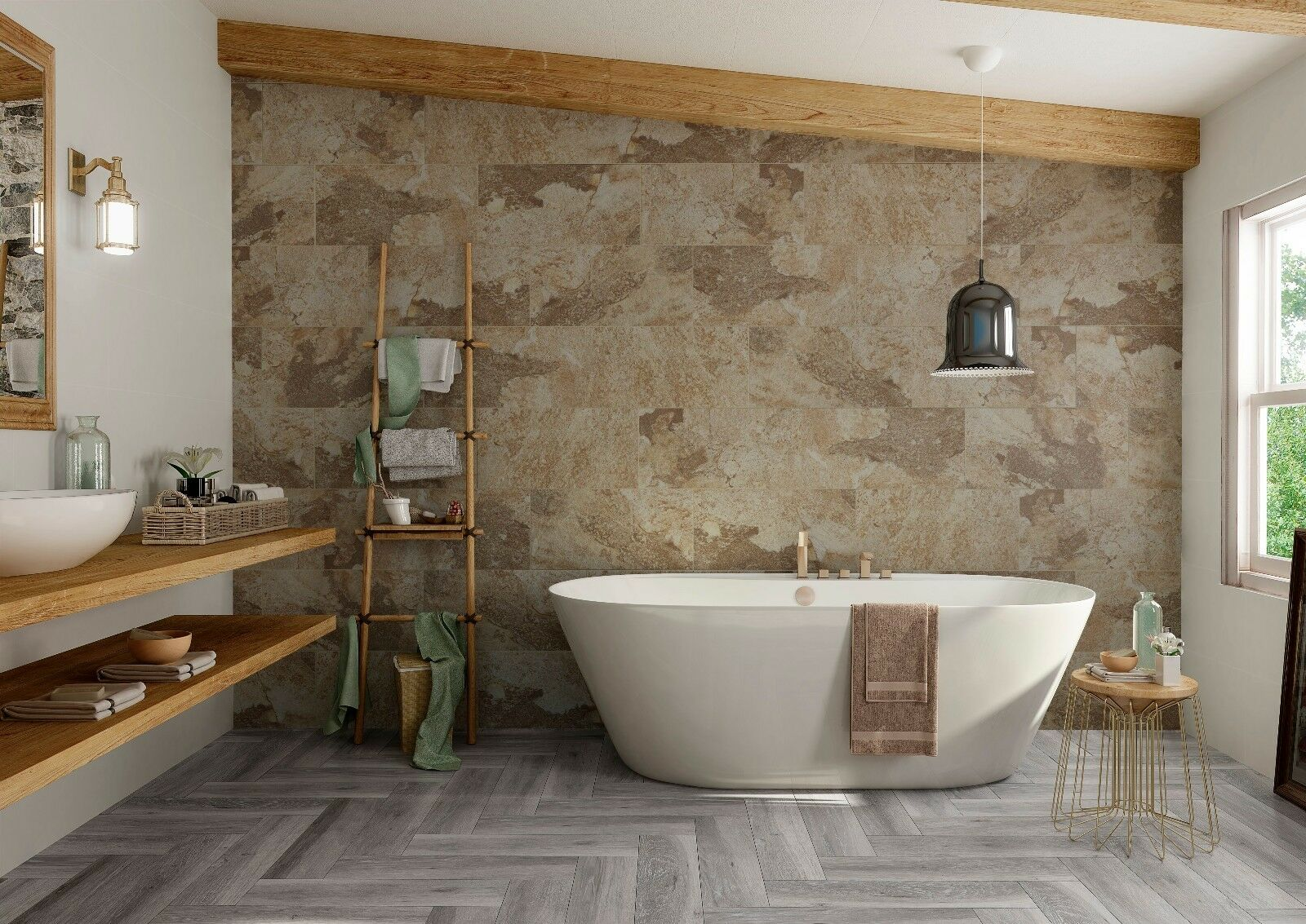Bengal Beige Natural Stoneslate Effect Porcelain Bathroom Wall