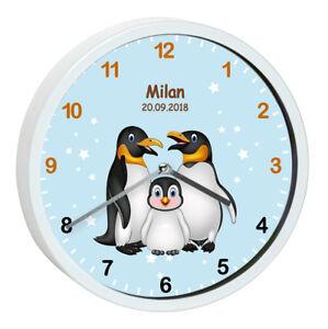 Wanduhr Kinder Pinguin Tiere Geburtsdatum Baby Sterne Geburt ...
