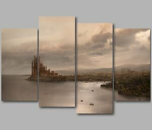 Game Of Thrones Wall Art xl game of thrones kings landing westeros 4 panel split canvas