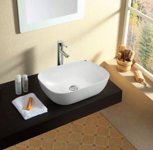 Modern Bathroom Counter Top Ceramic White Basin Cloakroom Gloss Wash Sink