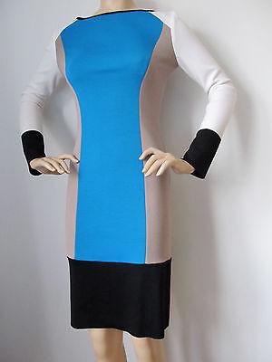 New St John Knit dress Size 8 Chambray blue navy blue grey milano knit