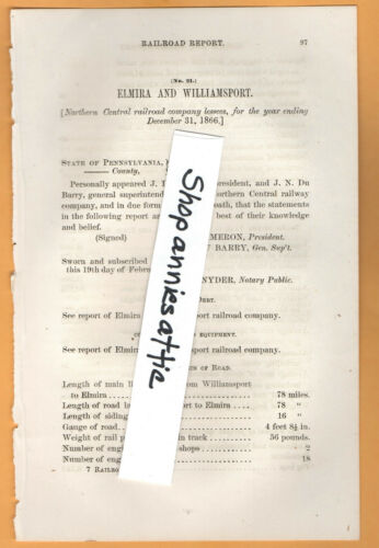 1866 Pennsylvania RR report ELMIRA & WILLAMSPORT RAILROAD NY PA train