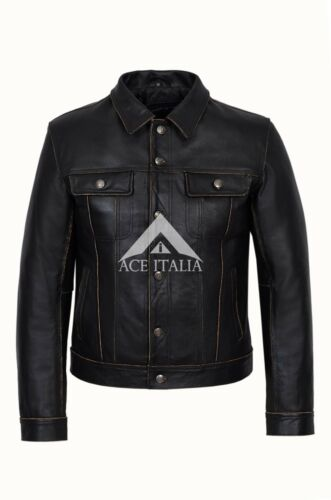 TRUCKER New Men/'s Black Rub Off Classic Real Cowhide Western Leather Jacket 1280
