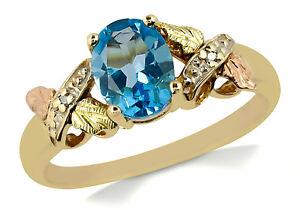 Women-039-s-10k-Solid-Yellow-Gold-amp-Rose-Gold-Topaz-amp-Diamond-3-Stone-Ring