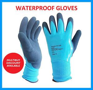 Waterproof Latex Coated Work Safety Grip Gloves Builders Gardening Mechanic