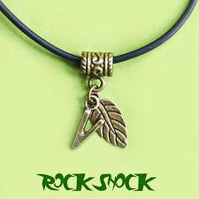 Vegan Pendant Necklace Bronze V Leaf Charm Veganism Unisex Vintage Accessories