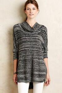 Field Flower Anthropologie Gray Black Space Dye Cowl Neck Tunic Sweater Size S