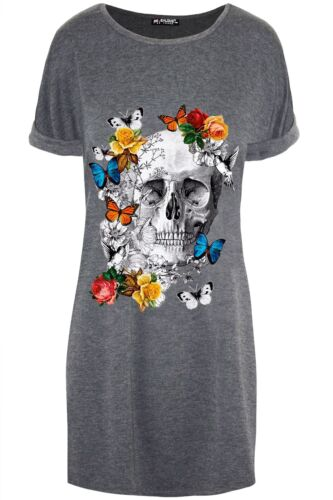 Womens Butterfly Floral Skull Ladies Oversized Turn Up Sleeve Mini Tunic Dress