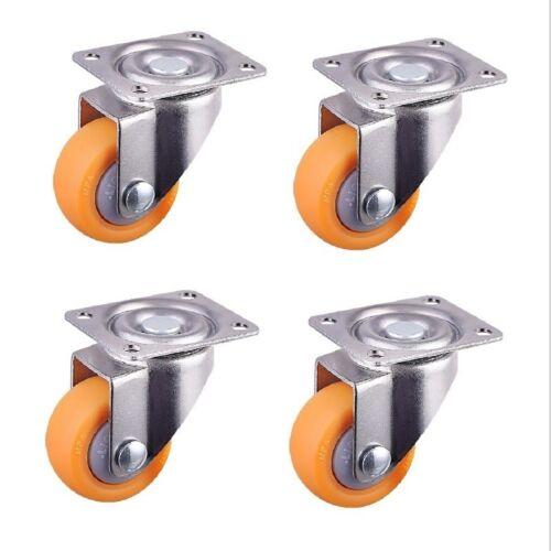 4pcs Trolley Casters Swivel Castor Wheel for Carts 25mm 13kg Orange Nylon