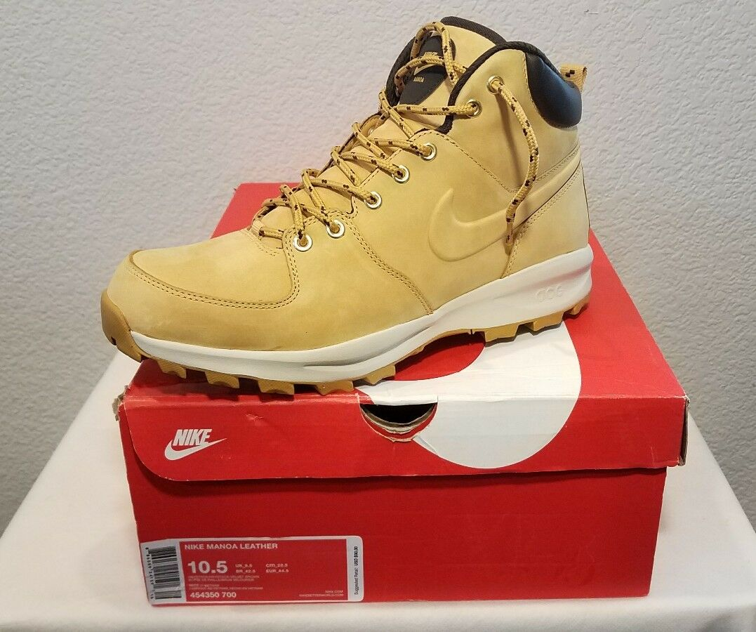 New   Nike Manoa Leather Boots (454350-700) Haystack-Velvet Brown Men's SZ 10.5