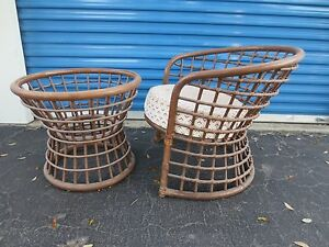 Image Is Loading MCM Bamboo Chair Patio Mid Century Modern Trellis