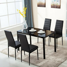 Modern Black 1 Dining Table Set W/4 Chairs Kitchen Room Breakfast Furniture