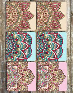 Mandala Coasters Set of 6 Non Slip Neoprene Coasters