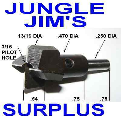 13/16 HSS COUNTER BORE 3/16 PILOT HOLE MILL NEW UNUSED SURPLUS MADE IN USA