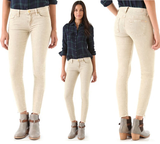 189 7 For All Mankind Skinny Zip Ankle Vanilla Corduroy Jeans Pants
